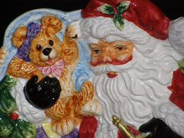 Vintage Toyland Santa in Sleigh Cookie or Canape Plate - $19.25