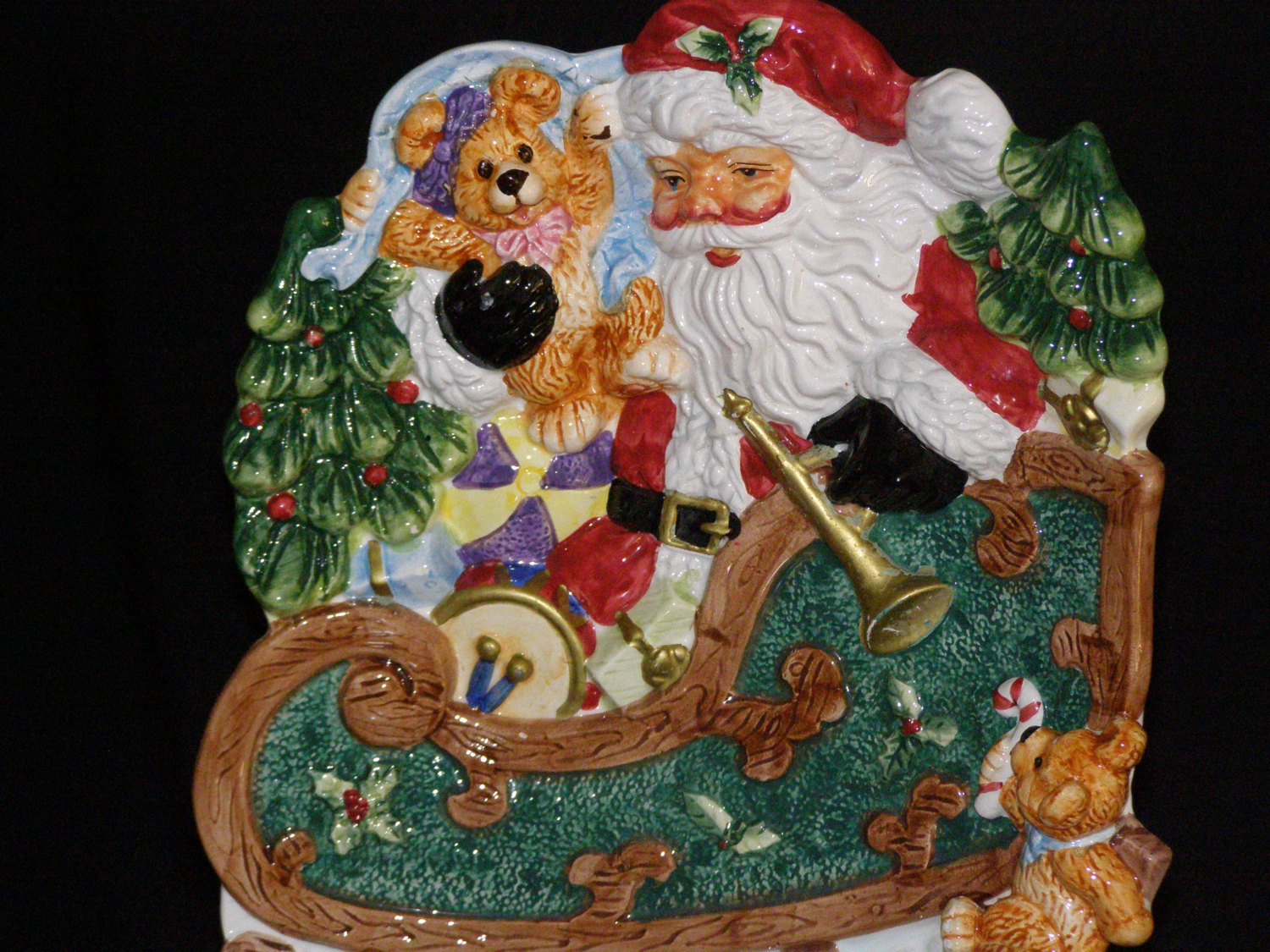 vintage toyland santa in sleigh cookie or canape plate other. Black Bedroom Furniture Sets. Home Design Ideas