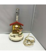 Vintage Irmi Nursery Lamp German Boy Girl Dog House Wooden Table Lamp 13... - $99.99