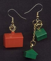 MONOPOLY GAME EARRINGS-Hotel House Realtor Charm Funky Jewelry - $6.97