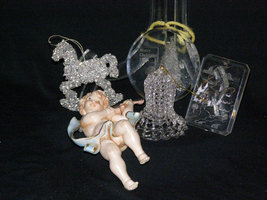 Vintage 1980s Christmas Cherub Glass Bell Rocking Horse and 2 Clear Scenes - $9.95