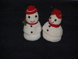 Vintage Crocheted Christmas Snowmen Candy Surprise Figures Set of Two 2. - $21.50