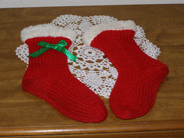 Vintage Christmas Hand Knit Red Socks with White Fleece Trim - $18.50