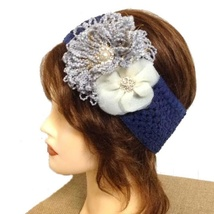 Navy Blue Flower Pearl Rhinestone Crochet Headband - $5.00