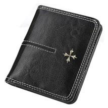 Stylish Oil Wax Short Leather Wallet Women Luxury Designer Purses Multi-... - $20.19
