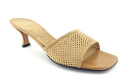Stuart Weitzman Size 8 Beige Perforated Suede Slide Sandals Heels Shoes - $64.00