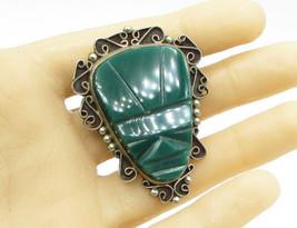 MEXICO 925 Sterling Silver - Gemstone Tribal Head Brooch Pin Pendant  - ... - $82.73