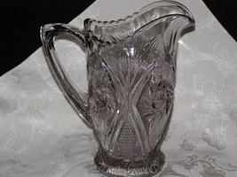 Stunning Early American Glass Pitcher Sun Purple circa1880-1890 - $162.50