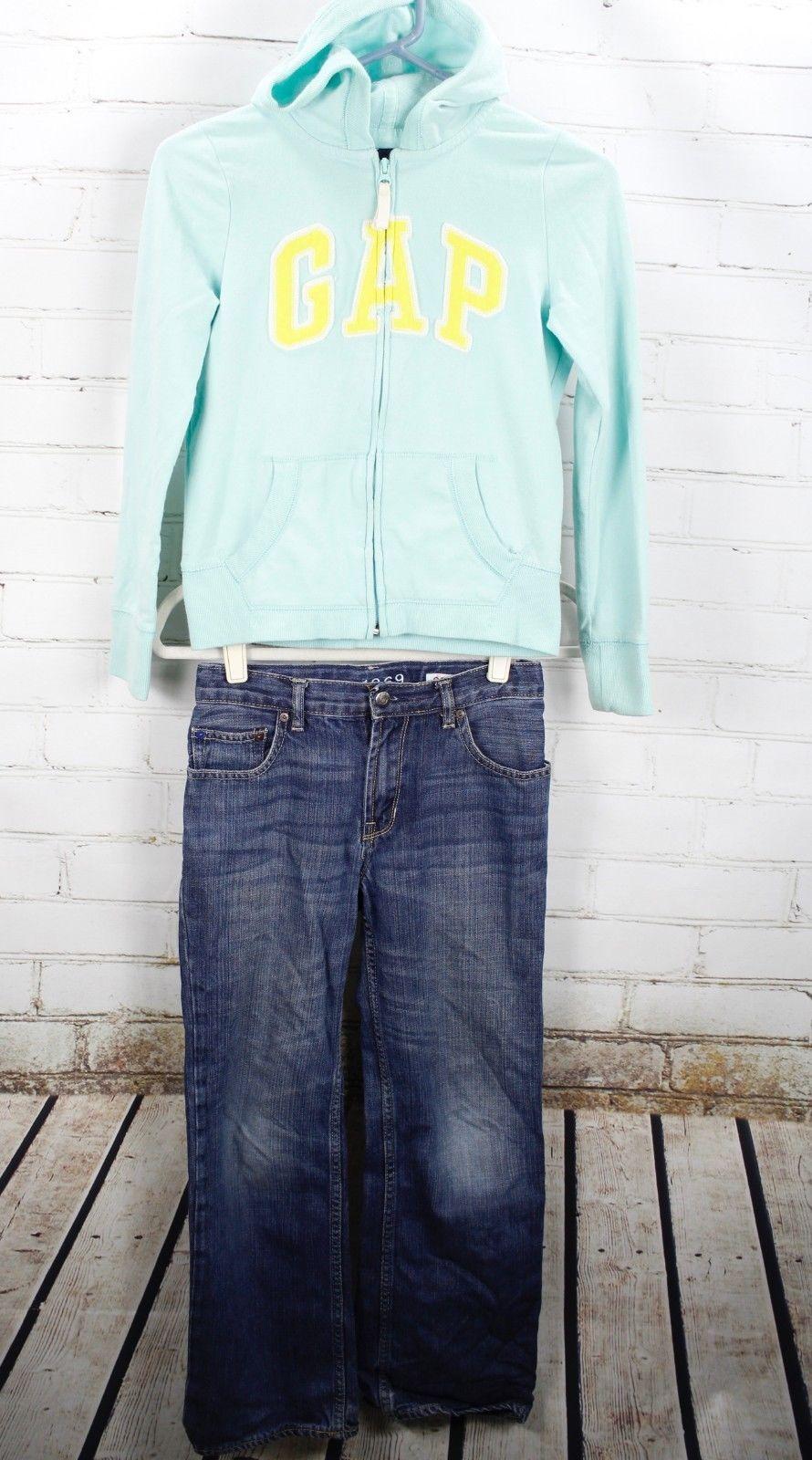 Gap Kids Logo Full Zip Hoodie Sweatshirt + Jeans Girls Size L 10 Outfit Set