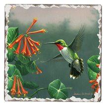 Hummingbird Tumbled Tile Coaster Single - $6.99