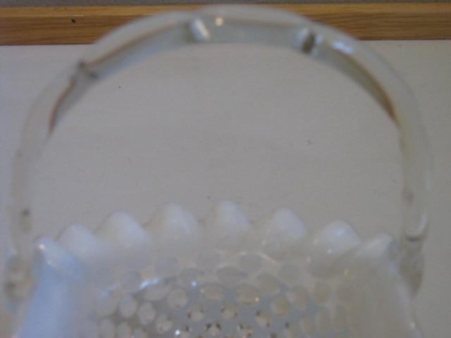 Vintage Fenton French Opalescent Hobnail Basket - 1950s