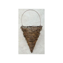 "Cone Wall Basket 17.5"" Planter Outdoor Landscape Wrapped Twigs Garden - $36.62"