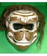 Monkey Mask Bali Hindu Hanaman with hair Gargoyle Hand carve 8 x 7 inch - $94.05