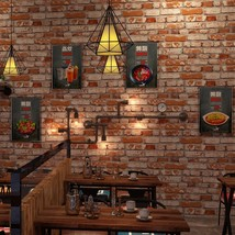 DISH Chinese-style 3d retro antique culture red grey vintage brick wall wallpape - $69.95