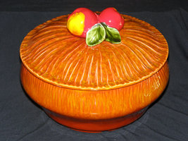 Vintage Covered Casserole with Apple Handle Mau... - $24.95