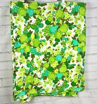 TRUE VINTAGE Terrycloth Tablecloth - Green Fruit Design Butterfly Floral... - $38.61