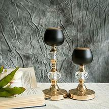 """Gold/Black Metal with Acrylic Crystal Candle Holders 7""""/11""""- 2 Pack TkFavort - $65.34"""
