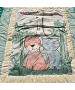 "Jungle Animals Quilt Handmade Crib Blanket Comforter 36"" x 47"" Giraffe T... - $19.34"