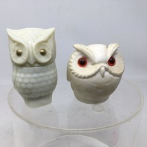 2 White Owl Figurines Avon  Milk Glass Owl Bottle Moonbeam Small White R... - $12.56