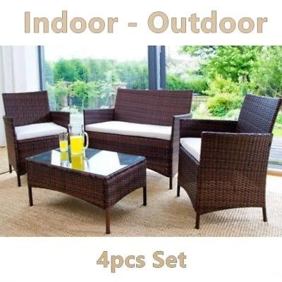 Garden Rattan Set Patio Wicker Furniture 4 Seater & Table Outdoor Indoor 4pcs