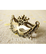 Bronze Mask Domino For Masquerade Or Halloween Charms 39x20mm - 5Pcs - FI25354 - $2.95
