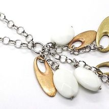 925 Silver Necklace, White Agate Pendant, Cluster, Oval Pink, Chain Rolo image 4