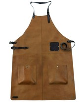 Unisex Genuine Leather Apron For Kitchen Industrial Apron Vintage Leathe... - $121.18