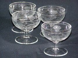 Vintage Set of 4 Etched Grape and Vine Cluster Depression Glass Sherbert  Desser - $20.00