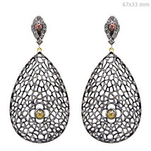 4.86 Ct Diamond Pave Dangle Drop Earrings 925 Silver 14 K Gold Victorian... - $1,167.48