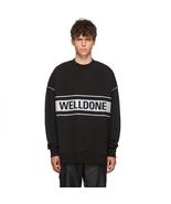 We11done Black Oversized Reflective Logo Sweatshirt - $285.00