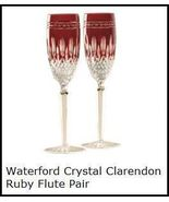 Waterford Clarendon Ruby Flute Pair ****Stunning****** - $169.95