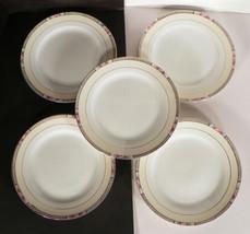 Vintage Noritake Seville Bread and Butter Plates LOT OF 5 Black Rim Pink... - $14.84