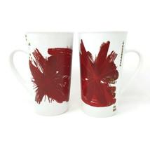 Set Of 2 Starbucks Coffee Cup Mugs 2014 Red Starburst Christmas Holiday ... - $24.23