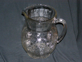 Vintage Crackled Handled Glass Pitcher - Water -  Juice - Ice Tea-Heavy Glass - $37.85