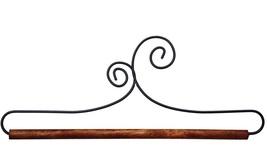 """Double Scroll Wire Hanger 5"""" wooden dowel needlework quilt hanger Ackfeld Mfg - $5.85"""