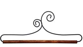 """Double Scroll Wire Hanger 6"""" wooden dowel needlework quilt hanger Ackfel... - $5.85"""