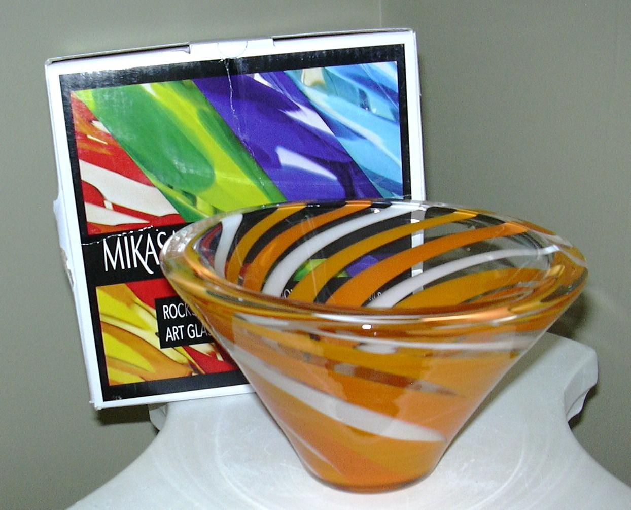 Mikasa Rockswirl Large Cone Shaped Bowl Orange