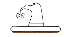 "Witch's Hat Wire Hanger 9"" wooden dowel needlework quilt hanger Ackfeld Mfg - $8.00"