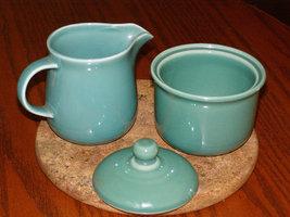 Vintage Nancy Calhoun 3 piece Cream Sugar Green Stoneware Replacement Piece Made - $19.35