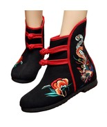 Vintage Beijing Cloth Shoes Embroidered Boots 12-01   black  35 - $37.99