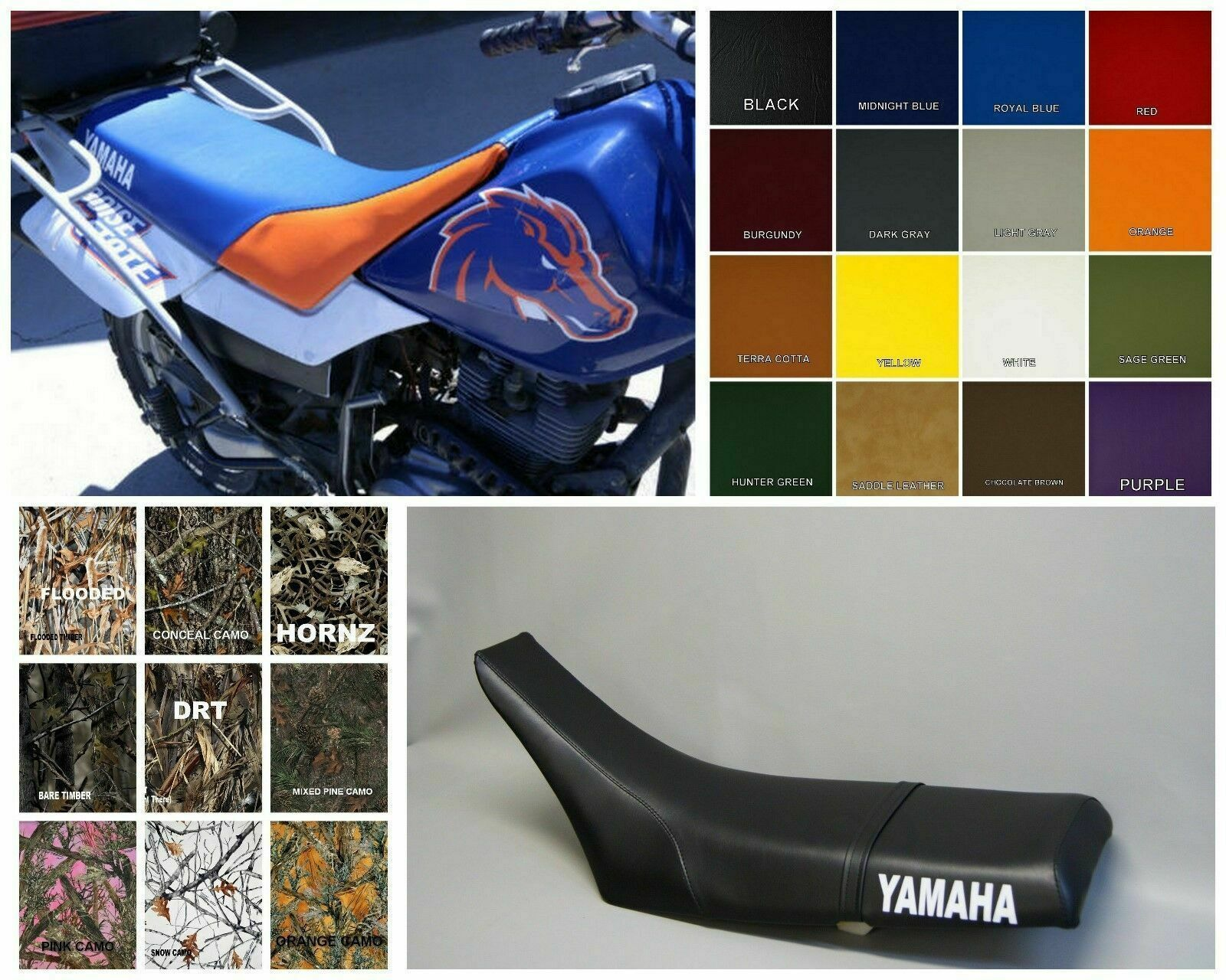 Primary image for Yamaha TW200 Seat Cover 1987 - 2012  in CUSTOM OPTIONS AND 2-TONE (SIDE ST/PS)