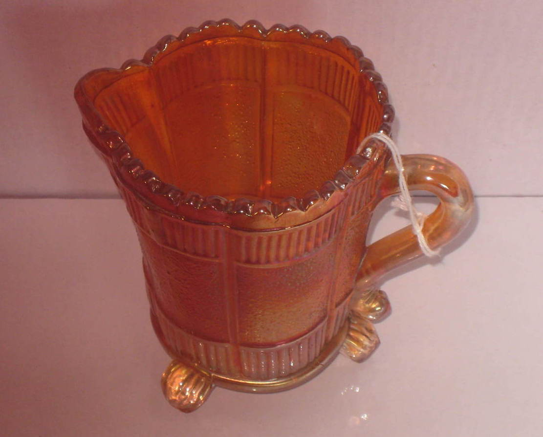 Creamer Pitcher by Sowerby, Lea Pattern in Marigold, circa 1920's