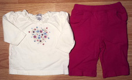 Girl's Size 3 M 0-3 Months 2 Pc Cream Floral Heart Carter's Top & Pink T... - $14.00