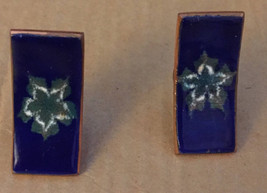 Vintage Crafted 1950s Floral White Flower Star Cobalt Blue Enamel Clip E... - $44.94