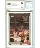 1992-93 TOPPS MICHAEL JORDAN CHICAGO BULLS GAME USED JERSEY GRADED BECKE... - $79.99