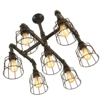 Industrial-Circa 7-Light Chandelier With Wire Cages, Finished In Matte Black - $345.00