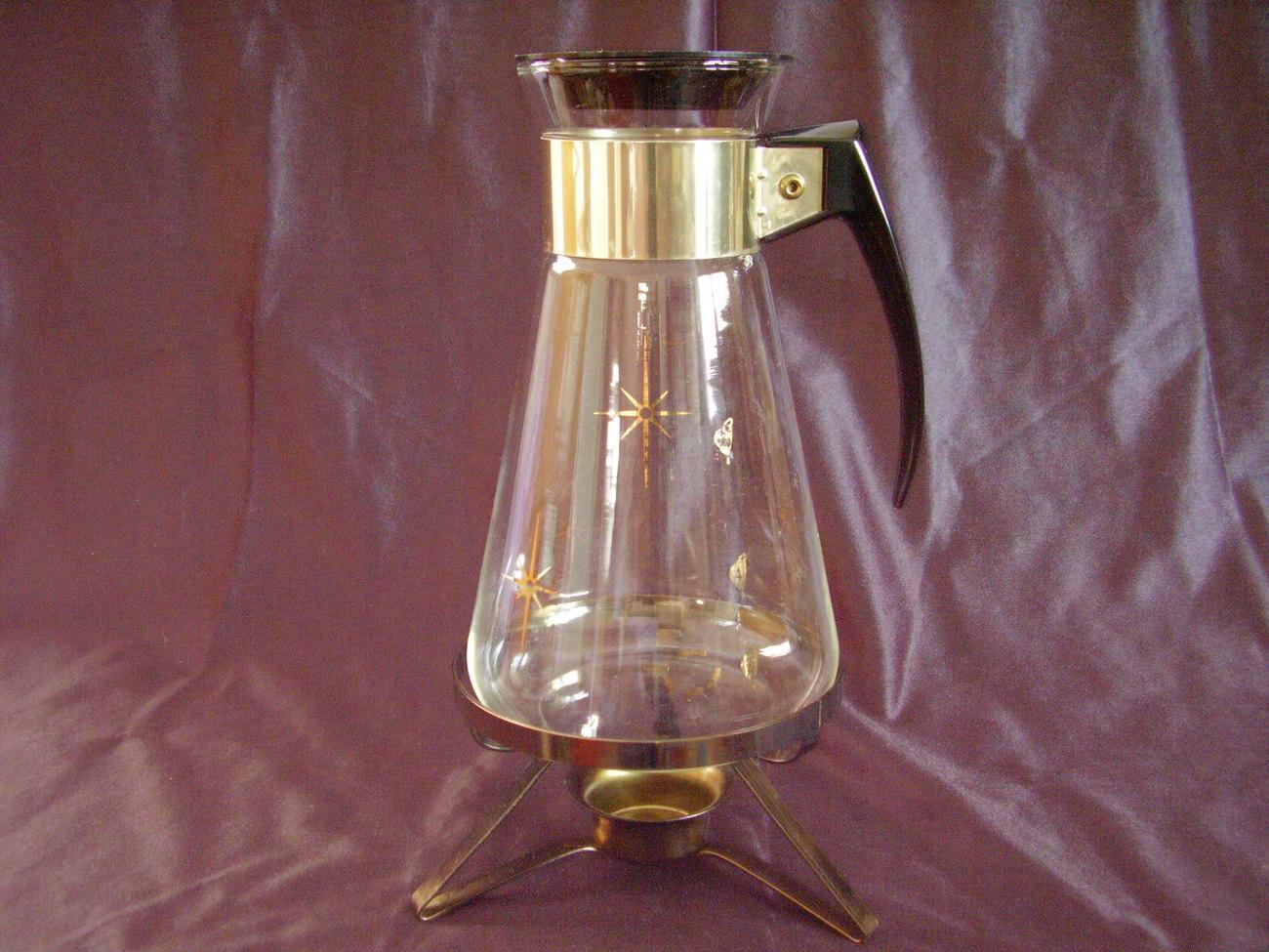 Retro MidCentury Starburst Glass Corning Coffee Carafe Warming Stand - $19.99