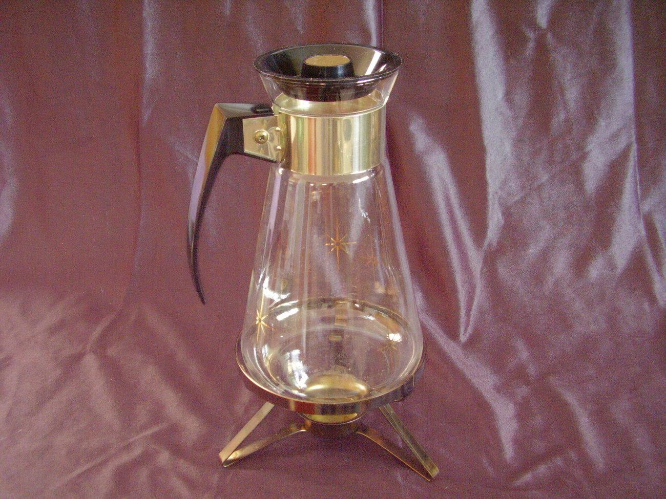 Retro MidCentury Starburst Glass Corning Coffee Carafe Warming Stand