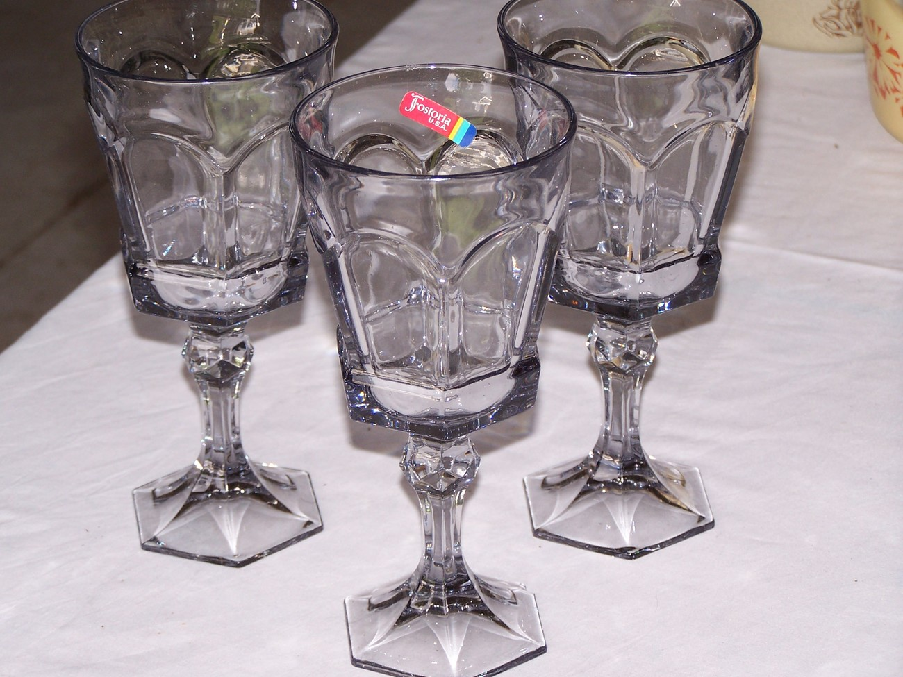 Fostoria Smokey Grey Virginia Stemware Glasses (3)