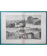ESTONIA Views in Dorpat or Tartu - 1880s Wood Engraving Print - $33.75